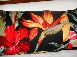 Tropical Hawaiian Cotton Barkcloth Fabric LUMBAR PILLOW ~Pau Hanna-Black~