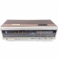 Vintage Emerson R5100A Wood Grain Rolling Flip Clock Alarm Radio HUGE