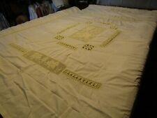 Antique 1920's Ecru Linen w/Lace Crochet Cherub & Floral Inserts Bedspread 92x94