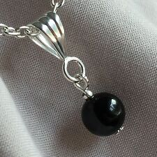 Black Onyx Silver Plated Pendant STRENGTH GIVING Healing Crystal Reiki Chakra