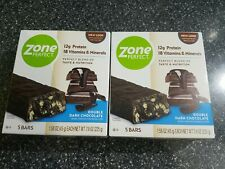 2 pk Zone Perfect Nutrition Bars Double Dark Chocolate 10 Bar Count Exp 11/20