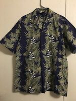 Royal Hawaiian Blue And Tan Flowered Hawaiian Shirt Size Large Vintage Aloha