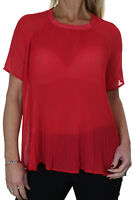 ICE (4049-2) Smart Evening Day Pleated Chiffon Blouse Top Red Size 8 10 12 14 16