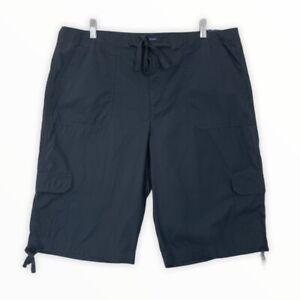IZOD NWT Women's Size 16 Bermuda Cargo Shorts Solid Blue 100% Cotton Tie Waist
