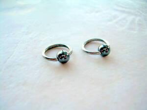 "Pair Captive 4mm Bead Ring 16g  5/16"" Hematite Ear Lip Tragus Eyebrow Cartilage"