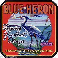 Brooksville Florida Blue Heron #1 Orange Citrus Fruit Crate Label Art Print