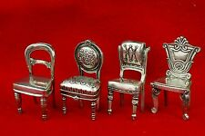 Universal Pewter Chair Figurine Place Card Holders Set 4 Vintage Miniature NEW