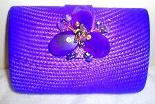Straw Sand Clutch Flower Bag Purse Handbag NEW Bead Purple Handbag Chain Only 1