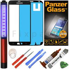Samsung Galaxy Note 2 N7100 N7105 Display Glas grau mit UV Loca KLEBER