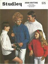 VINTAGE KNITTING PATTERN  ARAN JUMPERS (A) FOR WOMEN & MEN & CHILDREN