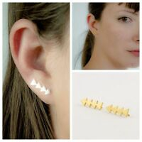 1PC Ear Sweep Wrap Silver/Gold Ear Climber Geometric Triangle Ear Cuffs Earrings