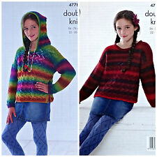 KNITTING PATTERN Girls Long Sleeved Lace Jumper and Hoodie Riot DK KingCole 4778