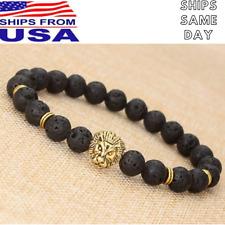 Fashion Men's Black Lava Stone Gold Lion Beaded Charm Stretch Ball Bracelet Best