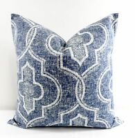 Vintage Indigo. Newport Damask Print.Pillow Cover.Cotton.Made in USA.Select size