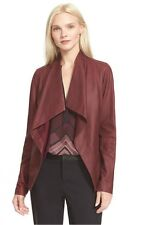 NWT Vince Drape Neck Scuba Leather Jacket SMALL Scarlet Red