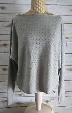 VINCE Women Gray Cashmere Wool Eyelet Lace Boat Neck LS Tunic Sweater Large L