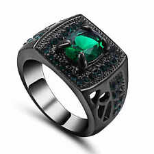 Trendy Jewelry Green Emerald 18K black Gold Filled Vintage Party Ring Size 6