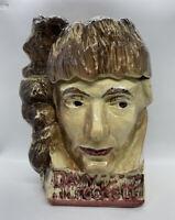 "Rare Vintage 1950's McCoy Davy Crockett Face Cookie Jar 11"""