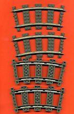 Lego--2867--Schiene-Gebogen- 4 Stück -- Grau/OldDkGray-- 9 V -- Eisenbahn-Train