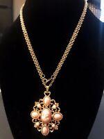 "Vintage Avon Gold Tone Pink Cameo Pendant Necklace 31"""