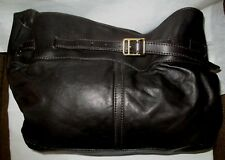 BURBERRY Large Chocolate Brown Soft Leather Slouchy Shoulder Bag w Duster