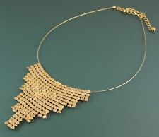 CASCADING GOLD STATEMENT NECKLACE DECO STYLE PENDANT ON MEMORY WIRE BIB CHOKER.