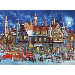 Classic Snowy Winter Street Advent Calendar - 24 Doors Glitter Finish Christmas