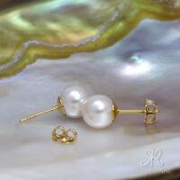 ⛶ KLASSIKER ● 8mm ●  SC Perlen schnee weiß + Ohrstecker ygf 14k Gold 585