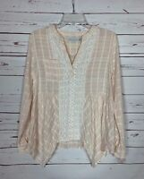 Paper Crane Boutique Women's S Small Pink Lace Long Sleeve Spring Top Blouse