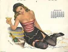 1950 Esquire Pin Up Girl  Al Moore Calender Jan-Dec still attached and envelope