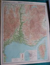1922 LARGE ANTIQUE MAP- FRANCE, SOUTH EASTERN SECTION