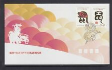 CHRISTMAS IS  2008  Year of the RAT design set of 2 on FDC.