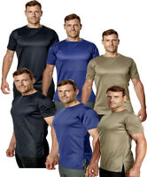Mens Longline Gym T-Shirt Short Sleeve Premium Sports Plain Running Tee Top