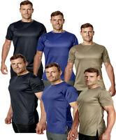 Mens Longline Gym T-Shirt Short Sleeve Premium Sports Plain Running Tee Top