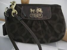COACH Madison Op Art Brown Signature Jacquard Pleated Small Wristlet