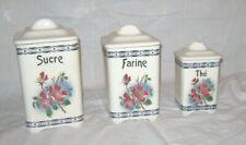 3 x (3STK) alte VORRATSDOSEN aus Keramik, **Hibiskusblüten**, France, um 1920