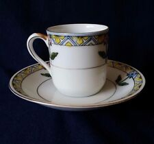 Noritake Blue And Yellow Flower Demitasse Cup With Saucer Set Of 4
