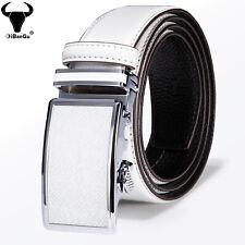 White Mens Real Leather Belts Automatic Buckles Ratchet Adjustable Waist Belts L