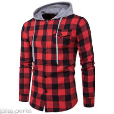 Mens Boys Casual Shirt Long Sleeve Lattice Plaid Denim Hoody Slim Fit  Top Tee