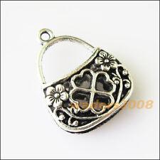 3 New Heart Flower Purse Tibetan Silver Tone Charms Pendants 18.5x24mm