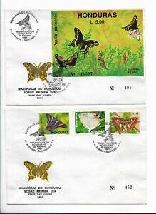 HONDURAS 1991 BUTTERFLIES FIRST DAY COVER SET OF 3 + SOUVENIR SHEET ON 2 FDC