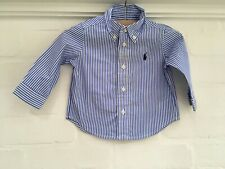 RALPH LAUREN Blue Striped Shirt Boys Top Size 9 month