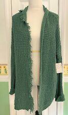 NEW! FREE PEOPLE Silk Cotton Cardigan Oversized Sweater Sage Green Sz S Fringe