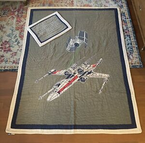 Pottery Barn Kids Quilt/Comforter Star Wars Twin + Quilted Pillow Sham
