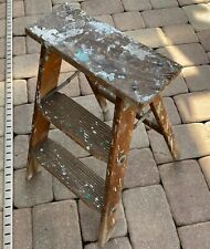 Wood Step Stool Folding Ladder vtg Plant Stand rustic distressed wood farmhouse