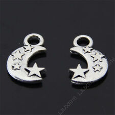 15x Tibetan Silver Star Moon Pendant Charms Findings Jewellery Accessories //01