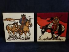 Vintage1985 Hand Painted Tile Trivet TEISSEDRE Native American & Cowboy Set of 2