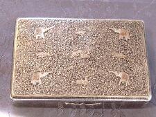 ARGENT MASSIF BOITE EN ARGENT NIELLEE  ASIE DECOR ANIMAUX TIGRE ELEPHANT