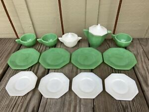VTG. 15 ASST'D PC'S; AKRO AGATE PLAY TIME GLASS CHILDS DISHES;ASST'D COLORS