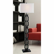 Modern Floor Lamp Black Metal Base White Fabric Shade Living Room Lighting Decor